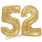 Zahl 52, holografisch, Gold, Luftballons aus Folie zum 52. Geburtstag, 100 cm, inklusive Helium