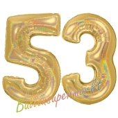 Zahl 53, holografisch, Gold, Luftballons aus Folie zum 53. Geburtstag, 100 cm, inklusive Helium