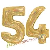 Zahl 54, holografisch, Gold, Luftballons aus Folie zum 54. Geburtstag, 100 cm, inklusive Helium