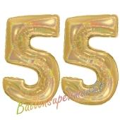 Zahl 55, holografisch, Gold, Luftballons aus Folie zum 55. Geburtstag, 100 cm, inklusive Helium