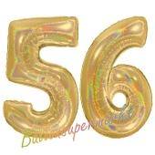 Zahl 56, holografisch, Gold, Luftballons aus Folie zum 56. Geburtstag, 100 cm, inklusive Helium