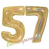 Zahl 57, holografisch, Gold, Luftballons aus Folie zum 57. Geburtstag, 100 cm, inklusive Helium