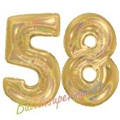 Zahl 58, holografisch, Gold, Luftballons aus Folie zum 58. Geburtstag, 100 cm, inklusive Helium