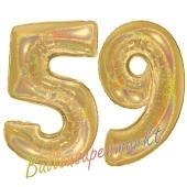 Zahl 59, holografisch, Gold, Luftballons aus Folie zum 59. Geburtstag, 100 cm, inklusive Helium