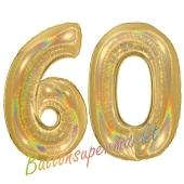 Zahl 60, holografisch, Gold, Luftballons aus Folie zum 60. Geburtstag, 100 cm, inklusive Helium