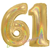 Zahl 61, holografisch, Gold, Luftballons aus Folie zum 61. Geburtstag, 100 cm, inklusive Helium