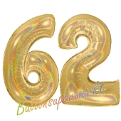Zahl 62, holografisch, Gold, Luftballons aus Folie zum 62. Geburtstag, 100 cm, inklusive Helium