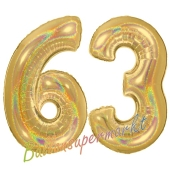 Zahl 63, holografisch, Gold, Luftballons aus Folie zum 63. Geburtstag, 100 cm, inklusive Helium