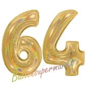 Zahl 64, holografisch, Gold, Luftballons aus Folie zum 64. Geburtstag, 100 cm, inklusive Helium