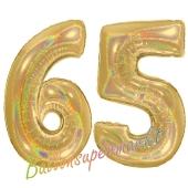 Zahl 65, holografisch, Gold, Luftballons aus Folie zum 65. Geburtstag, 100 cm, inklusive Helium