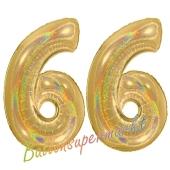 Zahl 66, holografisch, Gold, Luftballons aus Folie zum 66. Geburtstag, 100 cm, inklusive Helium