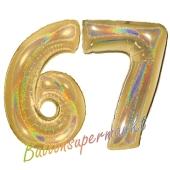 Zahl 67, holografisch, Gold, Luftballons aus Folie zum 67. Geburtstag, 100 cm, inklusive Helium