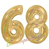 Zahl 68, holografisch, Gold, Luftballons aus Folie zum 68. Geburtstag, 100 cm, inklusive Helium