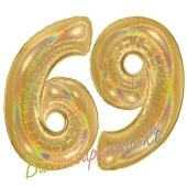 Zahl 69, holografisch, Gold, Luftballons aus Folie zum 69. Geburtstag, 100 cm, inklusive Helium