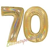 Zahl 70, holografisch, Gold, Luftballons aus Folie zum 70. Geburtstag, 100 cm, inklusive Helium