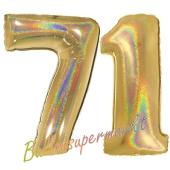Zahl 71, holografisch, Gold, Luftballons aus Folie zum 71. Geburtstag, 100 cm, inklusive Helium