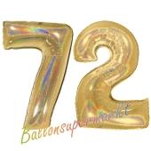 Zahl 72, holografisch, Gold, Luftballons aus Folie zum 72. Geburtstag, 100 cm, inklusive Helium