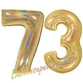 Zahl 73, holografisch, Gold, Luftballons aus Folie zum 73. Geburtstag, 100 cm, inklusive Helium