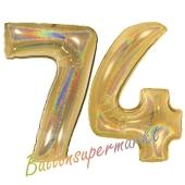Zahl 74, holografisch, Gold, Luftballons aus Folie zum 74. Geburtstag, 100 cm, inklusive Helium