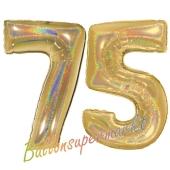 Zahl 75, holografisch, Gold, Luftballons aus Folie zum 75. Geburtstag, 100 cm, inklusive Helium