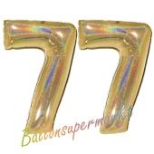 Zahl 77, holografisch, Gold, Luftballons aus Folie zum 77. Geburtstag, 100 cm, inklusive Helium