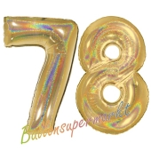Zahl 78, holografisch, Gold, Luftballons aus Folie zum 78. Geburtstag, 100 cm, inklusive Helium