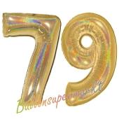 Zahl 79, holografisch, Gold, Luftballons aus Folie zum 79. Geburtstag, 100 cm, inklusive Helium