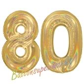 Zahl 80, holografisch, Gold, Luftballons aus Folie zum 80. Geburtstag, 100 cm, inklusive Helium