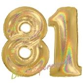 Zahl 81, holografisch, Gold, Luftballons aus Folie zum 81. Geburtstag, 100 cm, inklusive Helium