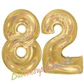 Zahl 82, holografisch, Gold, Luftballons aus Folie zum 82. Geburtstag, 100 cm, inklusive Helium