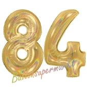 Zahl 84, holografisch, Gold, Luftballons aus Folie zum 84. Geburtstag, 100 cm, inklusive Helium