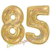 Zahl 85, holografisch, Gold, Luftballons aus Folie zum 85. Geburtstag, 100 cm, inklusive Helium
