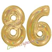 Zahl 86, holografisch, Gold, Luftballons aus Folie zum 86. Geburtstag, 100 cm, inklusive Helium