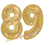 Zahl 89, holografisch, Gold, Luftballons aus Folie zum 89. Geburtstag, 100 cm, inklusive Helium