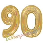 Zahl 90, holografisch, Gold, Luftballons aus Folie zum 90. Geburtstag, 100 cm, inklusive Helium