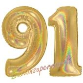 Zahl 91, holografisch, Gold, Luftballons aus Folie zum 91. Geburtstag, 100 cm, inklusive Helium