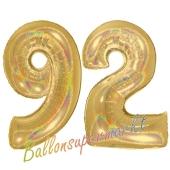 Zahl 92, holografisch, Gold, Luftballons aus Folie zum 92. Geburtstag, 100 cm, inklusive Helium