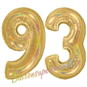Zahl 93, holografisch, Gold, Luftballons aus Folie zum 93. Geburtstag, 100 cm, inklusive Helium