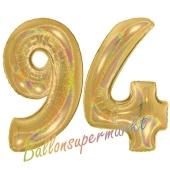 Zahl 94, holografisch, Gold, Luftballons aus Folie zum 94. Geburtstag, 100 cm, inklusive Helium