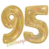Zahl 95, holografisch, Gold, Luftballons aus Folie zum 95. Geburtstag, 100 cm, inklusive Helium