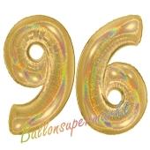 Zahl 96, holografisch, Gold, Luftballons aus Folie zum 96. Geburtstag, 100 cm, inklusive Helium