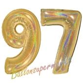 Zahl 97, holografisch, Gold, Luftballons aus Folie zum 97. Geburtstag, 100 cm, inklusive Helium