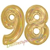 Zahl 98, holografisch, Gold, Luftballons aus Folie zum 98. Geburtstag, 100 cm, inklusive Helium