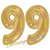 Zahl 99, holografisch, Gold, Luftballons aus Folie zum 99. Geburtstag, 100 cm, inklusive Helium