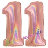 Zahl 11, holografisch, Rosegold, Luftballons aus Folie zum 11. Geburtstag, 100 cm, inklusive Helium