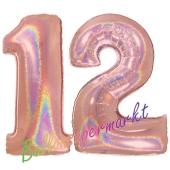 Zahl 12, holografisch, Rosegold, Luftballons aus Folie zum 12. Geburtstag, 100 cm, inklusive Helium