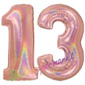 Zahl 13, Holografisch, Rosegold, Luftballons aus Folie zum 13. Geburtstag, 100 cm, inklusive Helium