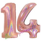 Zahl 14, holografisch, Rosegold, Luftballons aus Folie zum 14. Geburtstag, 100 cm, inklusive Helium