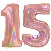 Zahl 15, holografisch, Rosegold, Luftballons aus Folie zum 15. Geburtstag, 100 cm, inklusive Helium