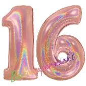 Zahl 16, holografisch, Rosegold, Luftballons aus Folie zum 16. Geburtstag, 100 cm, inklusive Helium